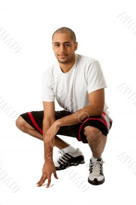 Crouching Sporty guy