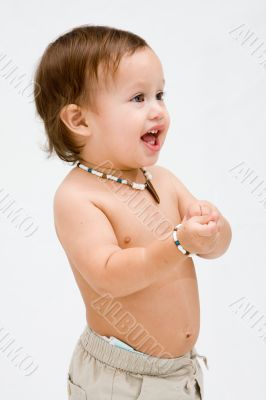 Topless toddler boy
