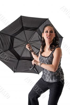 Mad woman with umbrella