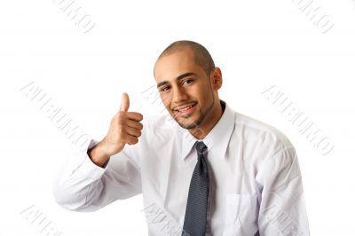 Business man, thumb up