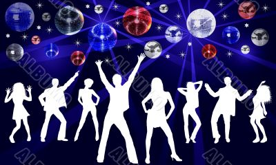 illustration of a colorful disco placard