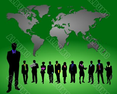 business people in front of a world map