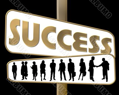 business people and slogan road sign gold
