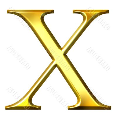 3D Golden Greek Letter Chi