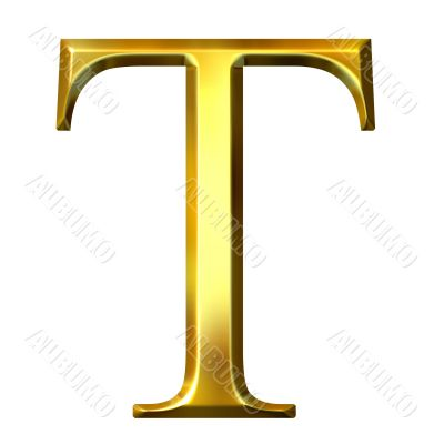 3D Golden Greek Letter Tau