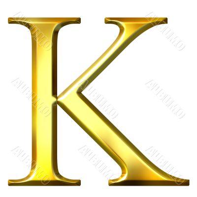 3D Golden Greek Letter Kappa