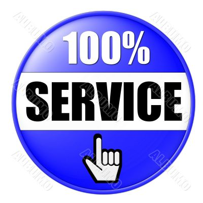 isolated 100 percent Service Button