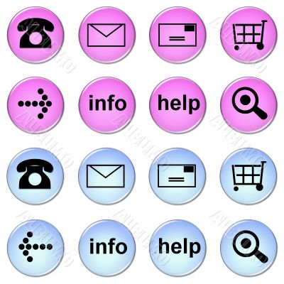 set of online shop buttons