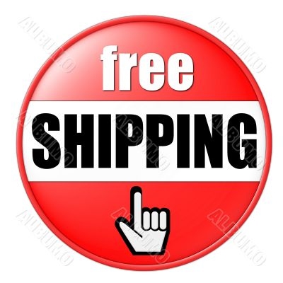 isolated free shipping button