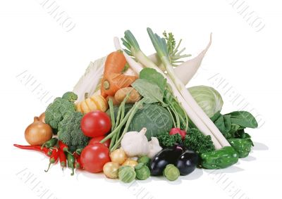 Group of vegetables isolated on a white