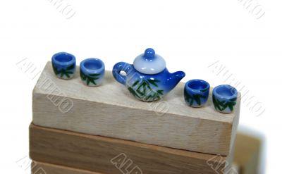 Tea set with bamboo shoots