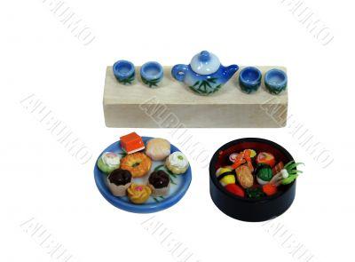 Sushi, tea cakes and tea
