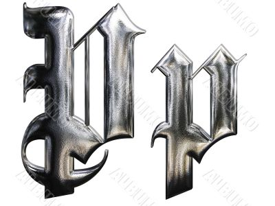 Metallic patterned letter of german gothic alphabet font. Letter P