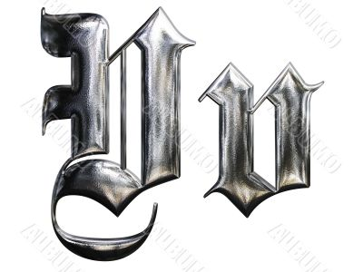 Metallic patterned letter of german gothic alphabet font. Letter V