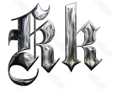 Metallic patterned letter of german gothic alphabet font. Letter K