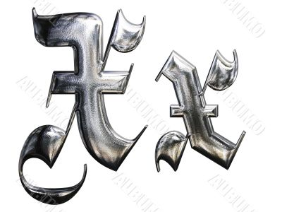 Metallic patterned letter of german gothic alphabet font. Letter X