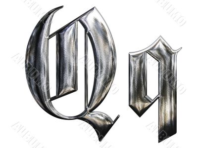 Metallic patterned letter of german gothic alphabet font. Letter Q