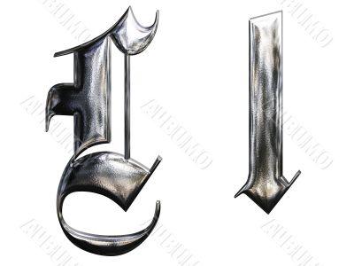 Metallic patterned letter of german gothic alphabet font. Letter L