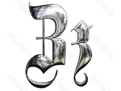 Metallic patterned letter of german gothic alphabet font. Letter Z