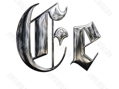 Metallic patterned letter of german gothic alphabet font. Letter E
