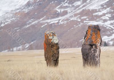 two ancient menhirs