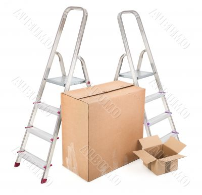 ladders and two cardboard boxes
