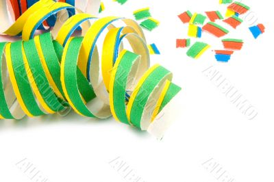 Colorful party streamers on white background