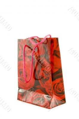 little gift bag with red roses