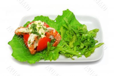 King prawns inside tomato with salad leafs