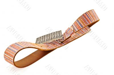 multicoloured leather belt with big steel buckle