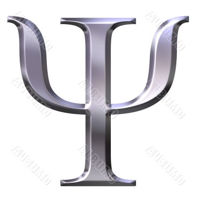 3D Silver Greek Letter Psi