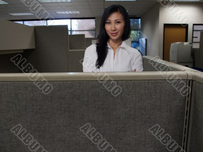 Woman in cubicle