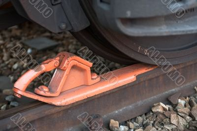 Brake shoe in front of freight car