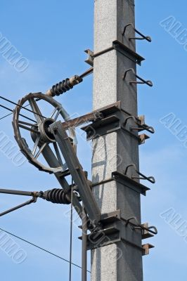 Pulley at the driving electricity pylon