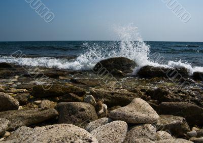 Splashing sea waves