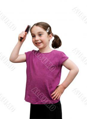 Cute little girl brush her hair isolated