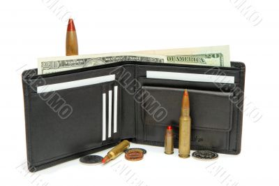 Wallet, money and cartridges isolated