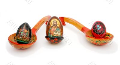 Easter eggs in Russian wooden painted spoons