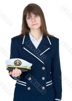 Girl in a sea uniform on white