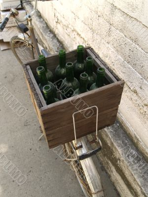 Box with bottles on the bicycle