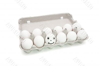 Humpty Dumpty egg in a paper box isolated