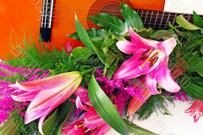 Pink lily guitar composition