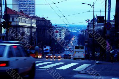 Evening Belgrade cityscape