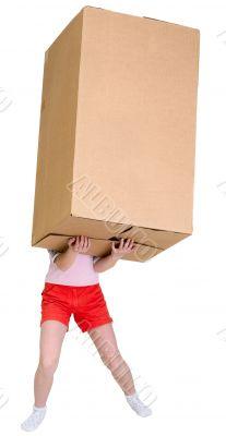 Girl holding very heavy brown cardboard box