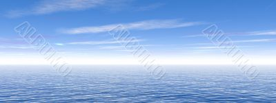 Blue cludy sky and ocean water with waves - panorama