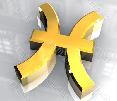 pisces astrology symbol in gold - 3d made