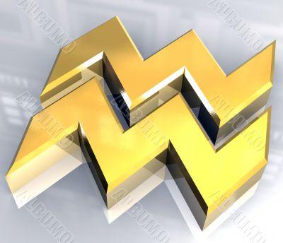 Aquarius astrology symbol in gold