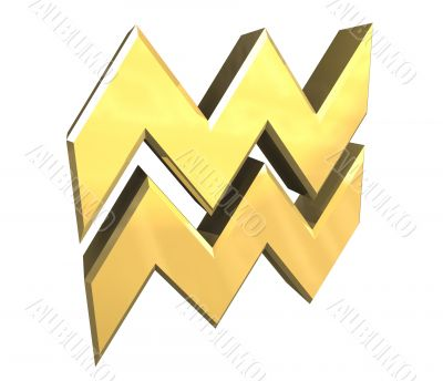 Aquarius astrology symbol in gold - 3d made