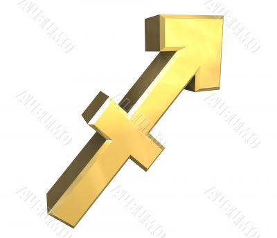 sagittarius astrology symbol in gold - 3d made