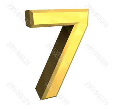 3d made - number 7 in gold